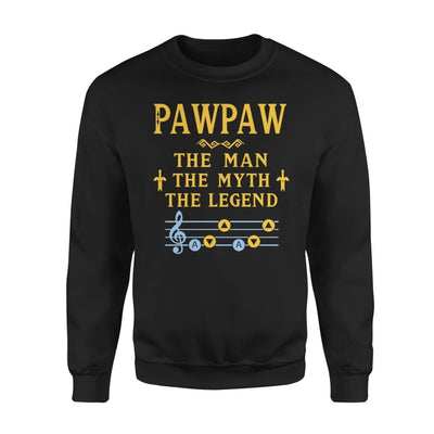 Pawpaw The Man Myth and Legend - Gaming Dad Grandpa Fathers Day Gift For - Standard Fleece Sweatshirt - S / Black
