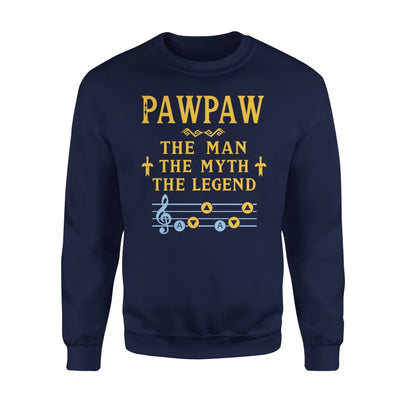 Pawpaw The Man Myth and Legend - Gaming Dad Grandpa Fathers Day Gift For - Standard Fleece Sweatshirt - S / Navy