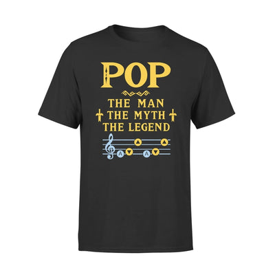 Pop The Man Myth and Legend - Gaming Dad Grandpa Fathers Day Gift For - Premium Tee - XS / Black