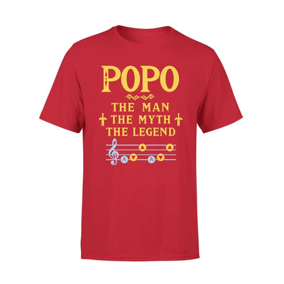 Popo The Man Myth and Legend - Gaming Dad Grandpa Fathers Day Gift For - Premium Tee - XS / Red