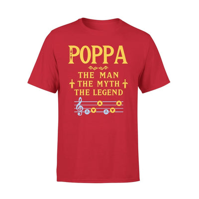 Poppa The Man Myth and Legend - Gaming Dad Grandpa Fathers Day Gift For - Premium Tee - XS / Red