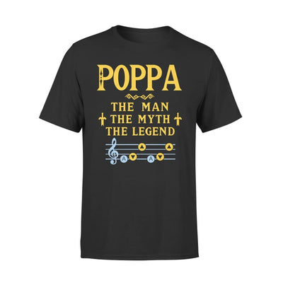 Poppa The Man Myth and Legend - Gaming Dad Grandpa Fathers Day Gift For - Standard Tee - S / Black