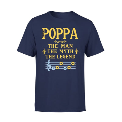 Poppa The Man Myth and Legend - Gaming Dad Grandpa Fathers Day Gift For - Standard Tee - S / Navy