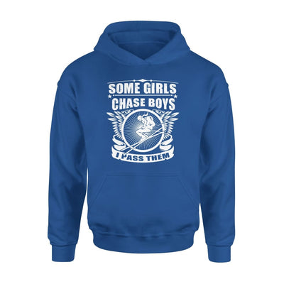 Skiing Someone Chase Boys I Pass Them - Standard Hoodie - S / Royal