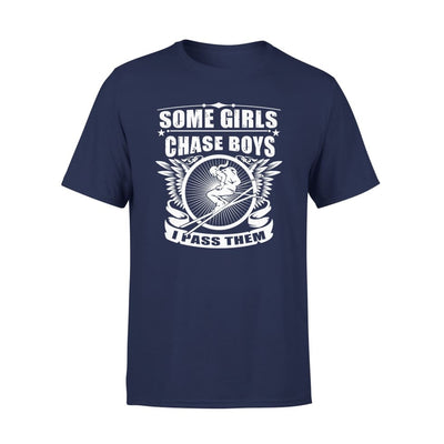 Skiing Someone Chase Boys I Pass Them - Standard Tee - S / Navy