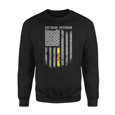 Vietnam veteran proud american flag gift for dad father brother grandpa who is a - Standard Fleece Sweatshirt - S / Black