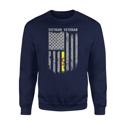 Vietnam veteran proud american flag gift for dad father brother grandpa who is a - Standard Fleece Sweatshirt - S / Navy