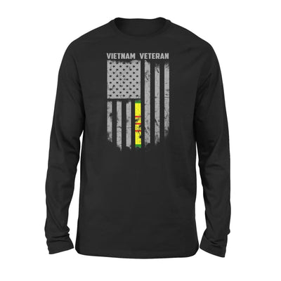 Vietnam veteran proud american flag gift for dad father brother grandpa who is a - Standard Long Sleeve - S / Black