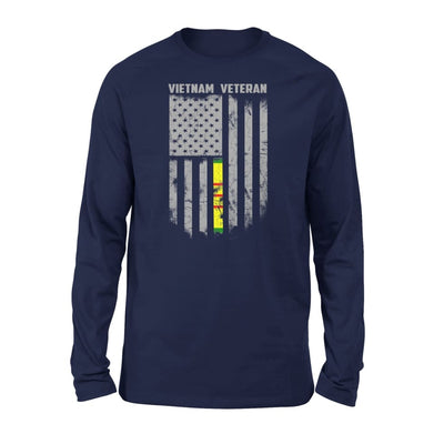 Vietnam veteran proud american flag gift for dad father brother grandpa who is a - Standard Long Sleeve - S / Navy