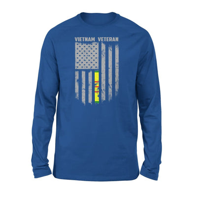 Vietnam veteran proud american flag gift for dad father brother grandpa who is a - Standard Long Sleeve - S / Royal
