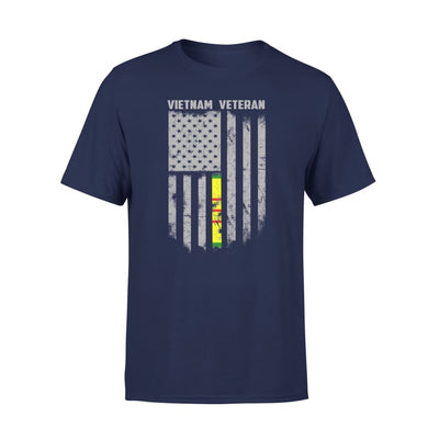 Vietnam veteran proud american flag gift for dad father brother grandpa who is a - Standard Tee - S / Navy