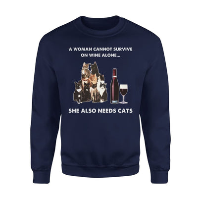 Woman Survive Wine Alone Needs Cat - Standard Fleece Sweatshirt - S / Navy