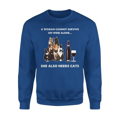 Woman Survive Wine Alone Needs Cat - Standard Fleece Sweatshirt - S / Royal