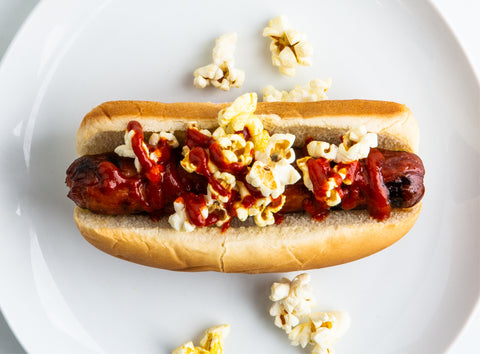 Popcorn and hot sauce movie night hot dogs