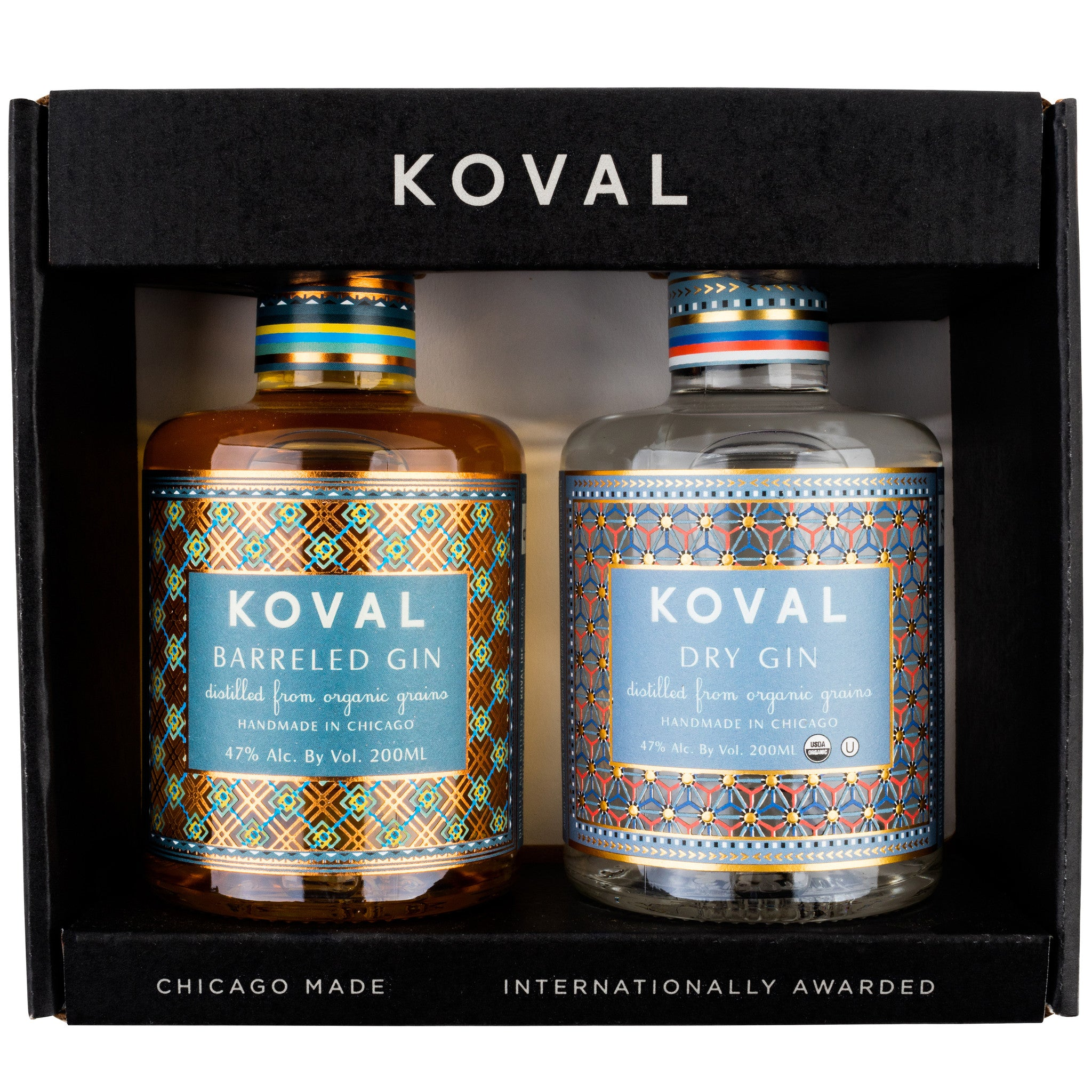 "If you're like us, the beautiful labels on these bottles are what first caught your eye. But these aren't just one of those ""beauty on the outside"" products. The spirits inside the bottles are just as thoughtfully and creatively crafted. Koval's dry gin is made with a unique blend of woodland spices and has an herbal, earthy quality with notes of juniper and wildflowers. The taste? A complex mix of citrus and floral traces followed by pepperiness. This is a clean, dry, yet vibrant gin that's crisp enough to enjoy straight and, of course, excellent in both classic and contemporary cocktails. The distillery's Barreled Gin follows the same recipe with the additional flavors of spiced oak that come from aging in whiskey barrels for six months. The combination makes a great gift for gin connoisseurs on the lookout for something outside the realm of the ordinary. Gin up, folks! TIP OF THE TONGUE Koval has an awesome recipe for a gimlet... a basil gimlet! Muddle 4-5 basil leaves, 2 lime wedg"