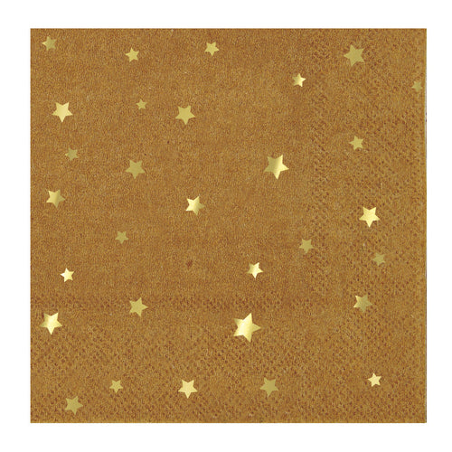 Kraft Paper Cocktail Napkins with Gold Stars
