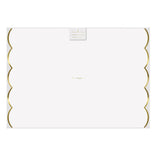 White Paper Placemats with Gold Scalloped Edge
