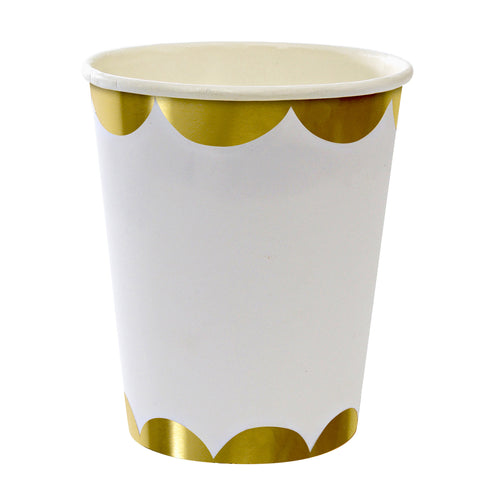 Paper Cups with Gold Scalloped Edge