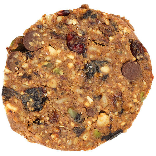 vegan nut fruit and chocolate cookie
