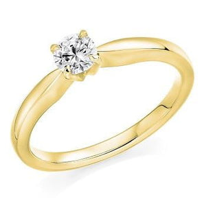 18K Yellow Gold 0.25 Round Brilliant Cut Solitaire Diamond Ring F/VS1 Pobjoy Diamonds