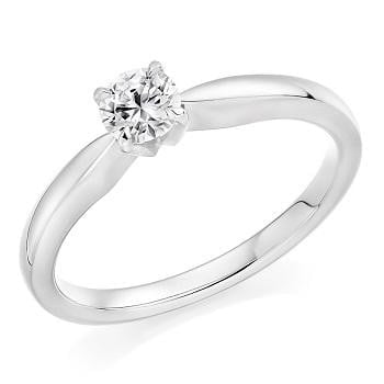 950 Platinum 0.25 Round Brilliant Cut Solitaire Diamond Ring F/VS1 Pobjoy Diamonds