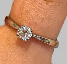 Load image into Gallery viewer, 950 Platinum 0.40 carat Round Brilliant Cut Solitaire Diamond Ring G/VS2-Lambourn - Pobjoy Diamonds