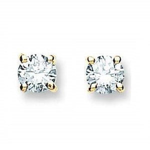 18K White/Yellow Gold 0.40 Carat Solitaire Diamond Stud Earrings H/Si1