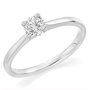 18K White Gold 0.75 Carat Round Brilliant Cut Solitaire Diamond Ring -Pobjoy