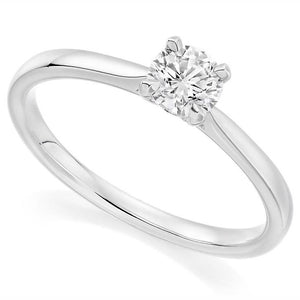 18K White Gold 0.75 Carat Round Brilliant Cut Solitaire Diamond Ring