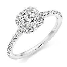 Load image into Gallery viewer, 950 Platinum Round Brilliant Cut 0.75 CTW Halo Diamond Engagement Ring F/VS2 & G/Si - Pobjoy Diamonds