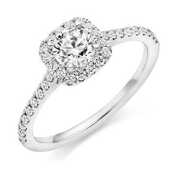 950 Platinum Round Brilliant Cut 0.75 CTW Halo Diamond Engagement Ring F/VS2 & G/Si - Pobjoy Diamonds