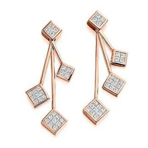 Pobjoy 18K gold and four tier ladies diamond drop earrings