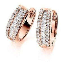 Load image into Gallery viewer, 18K gold and 1.5 CTW round and princess cut diamond hug earrings Pobjoy Diamond