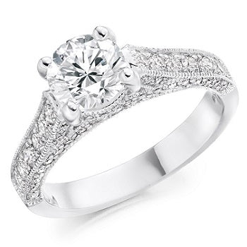 18K White Gold 1.80 CTW Diamond Solitaire & Shoulders Engagement Ring - F/VS1