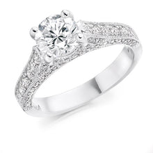 Load image into Gallery viewer, 18K White Gold 1.80 CTW Diamond Solitaire & Shoulders Engagement Ring - F/VS1