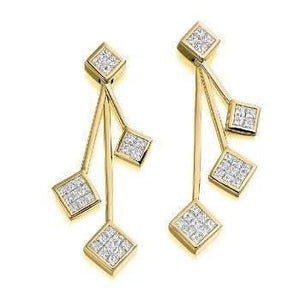 Pobjoy 18K yellow gold and four tier ladies diamond drop earrings