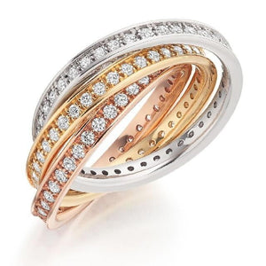 18K Russian Gold & Diamond 1.50 CTW Fully Eternity Ring - Pobjoy Diamonds