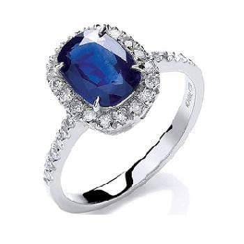 18K White Gold Cushion Cut 1.75 CTW Sapphire & Diamond Ring - Pobjoy Diamonds
