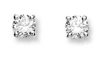 18K White Gold Claw Set Brilliant Round Cut Solitaire Diamond Earrings. Pobjoy Surrey