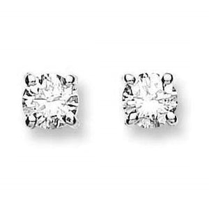 18K White Gold Claw Set Brilliant Round Cut Solitaire Diamond Earrings From Pobjoy