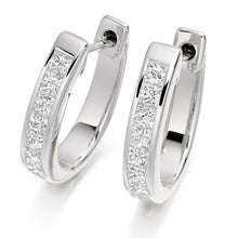 Load image into Gallery viewer, 18K White Gold & Channel Set Diamond Huggie Earrings From Pobjoy
