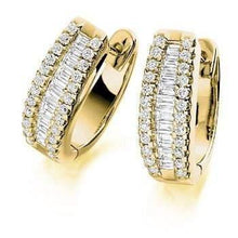Load image into Gallery viewer, 18K yellow gold and 1.50 CTW round and princess cut diamond hug earrings Pobjoy Diamond