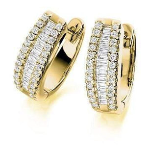 18K yellow gold and 1.50 CTW round and princess cut diamond hug earrings Pobjoy Diamond