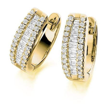 Load image into Gallery viewer, 18K gold and 1.50 CTW round and princess cut diamond hug earrings Pobjoy Diamond