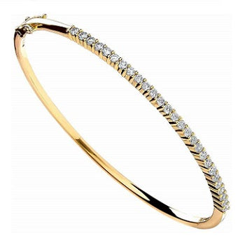 18K Yellow Gold & 1.10 Carat Diamond Bangle