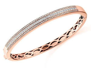18K gold 2.10 CTW round and princess cut triple row diamond hinged bangle