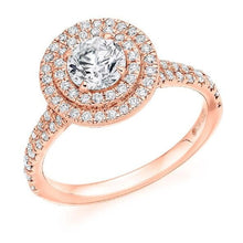 Load image into Gallery viewer, 18K Rose Gold 1.70 CTW Diamond Halo Ring G-H/Si - Pobjoy Diamonds