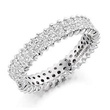 Load image into Gallery viewer, 18K White Gold Double Row 2.5 CTW Diamond Full Eternity Ring