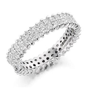 18K White Gold Double Row 2.5 CTW Diamond Full Eternity Ring