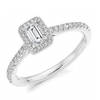 18K White Gold Emerald Cut 0.58 CTW Halo Diamond Engagement Ring F/VS